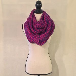 NWT J. Crew red blue honeycomb knit infinity scarf